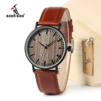 BOBO BIRD New Arrival 2016 Round Vintage Watch Ebony Wood Quartz Watch With Real Leather Band