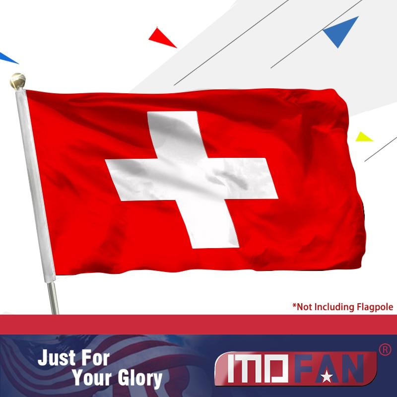 MOFAN Bandera nacional de Suiza -Durante de alta calidad y doble - Decoración del hogar
