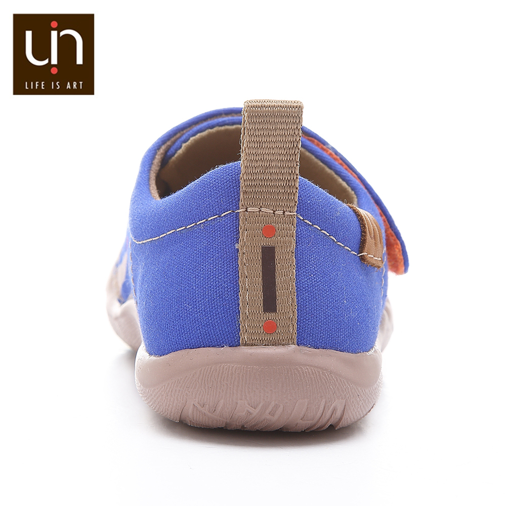 UIN City of Gaudi Design Painted Little Kids Casual Shoes Hook & Loop Soft Canvas Flats for Boys/Girls Outdoor Children Shoes