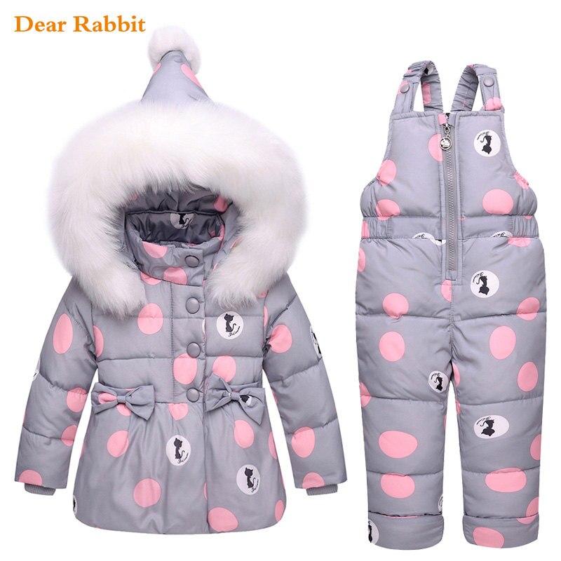2017 בגדי בנות ילדי חורף רוסיה חם דובון למטה ז 'קט עבור תינוק של ילדי ילדה בגדי ילדים ללבוש שלג מעיל חליפת