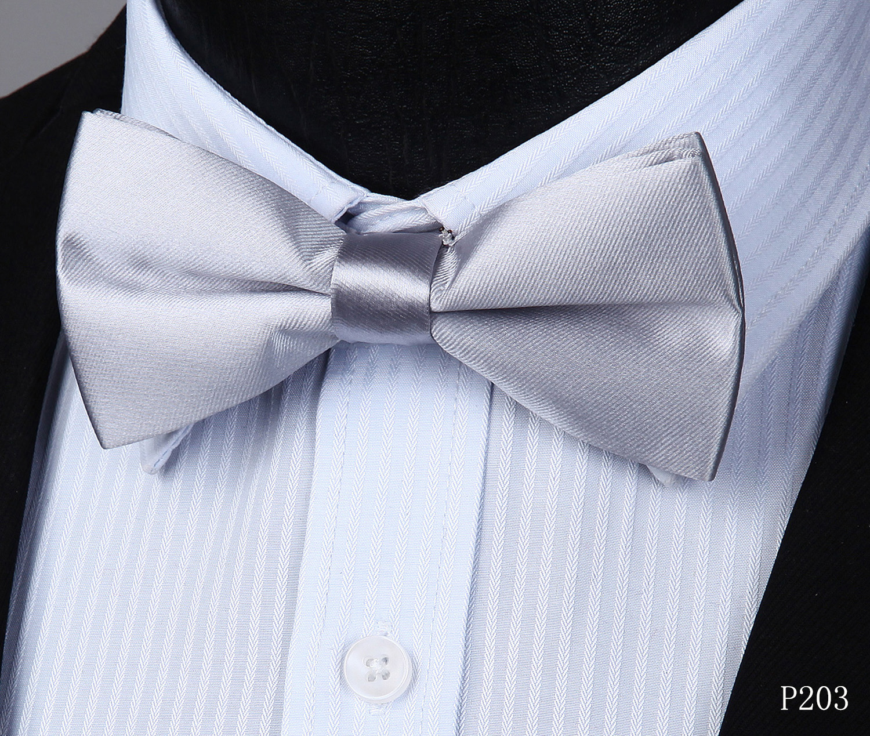 Dark Grey Mens Fashion Silvery Dots Pre-tied Bowtie Pocket Square Set