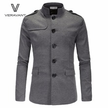 New Men'S Self-Cultivation British Stand Collar Solid Color Cotton Long-Sleeved Double Slits Male Blazers