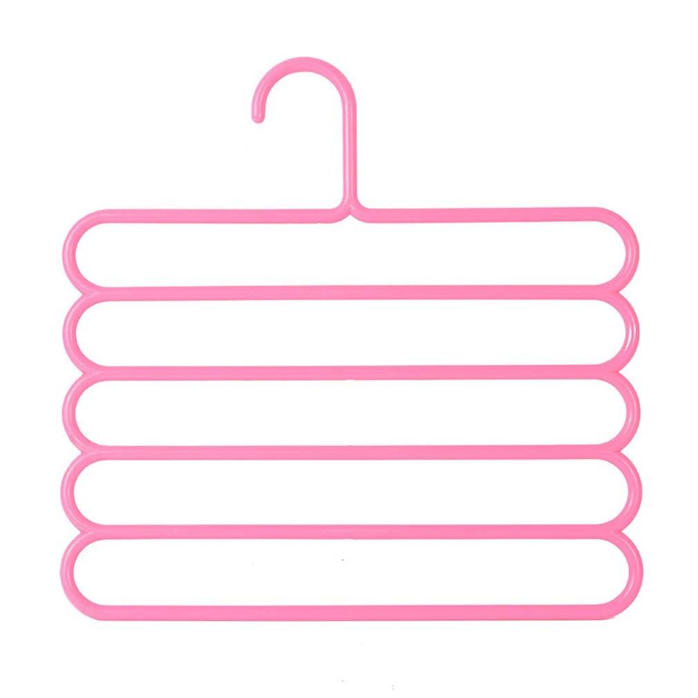 5 слоев не Нескользящая мультифункциональная подкладка под вешалки для одежды со штанами Для Хранения Вешалки ткань стойки Многослойные хранения шарф галстук вешалка 1 шт - Цвет: Pink