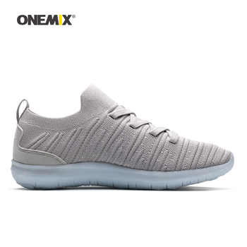 Onemix Man Running Shoes for Men Gray Socks Loafers Mesh Air Designer Breathable Jogging Sneakers Outdoor Sport Walking Trainers