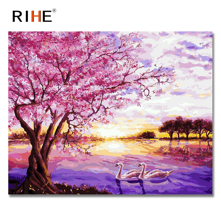 RIHE Pink Tree Diy Painting By Numbers Abstract Swan River Oil Painting On Canvas Cuadro ...