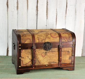 Continental Retro Home Decoration Wooden Map Storage Treasure Chest Creative Crafts Window Creative Decoration