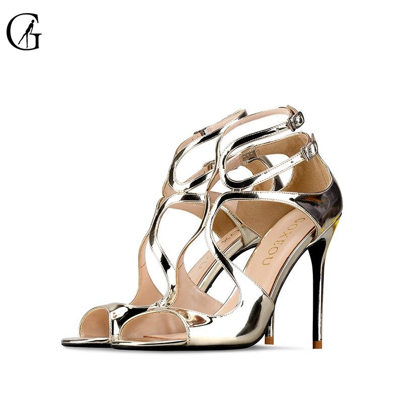 Goxeou/george 2019 새로운 밝은 얼굴은 중공 하이힐로 잘 지적했습니다. 전문 여성 신발 샌들 size32 46-에서하이힐부터 신발 의  그룹 1