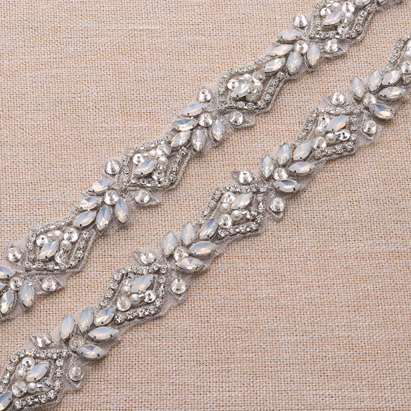 1 Yard Handmade Rhienstone Applique Crystal Silver Bridal Belt With Protein  beads Trim Iron On Wedding Dress Belt YS912-in Rhinestones from Home   Garden  on ... 5b1637779729