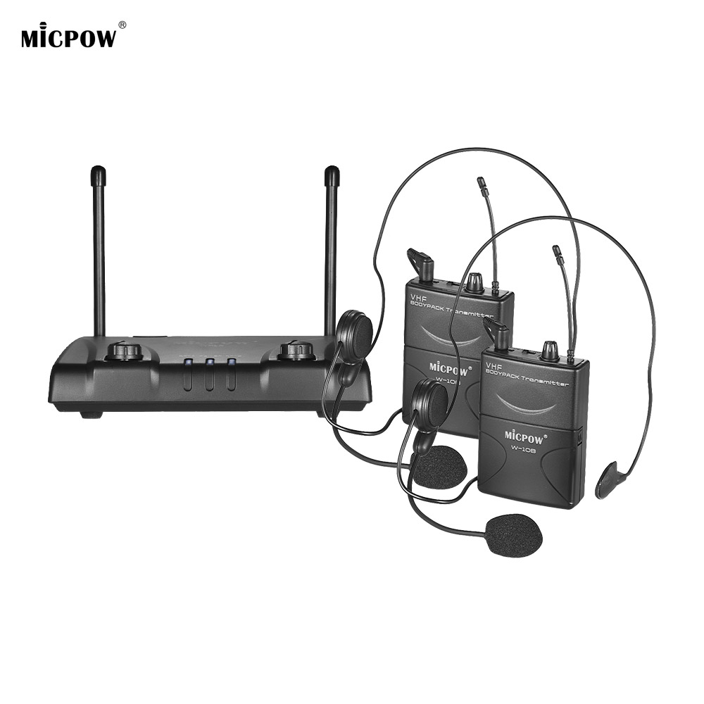 MICPOW W 10 VHF Dual Channel Wireless Microphone Mic 2 Headset Microphone 2Bodypack Transmitters Receiver for