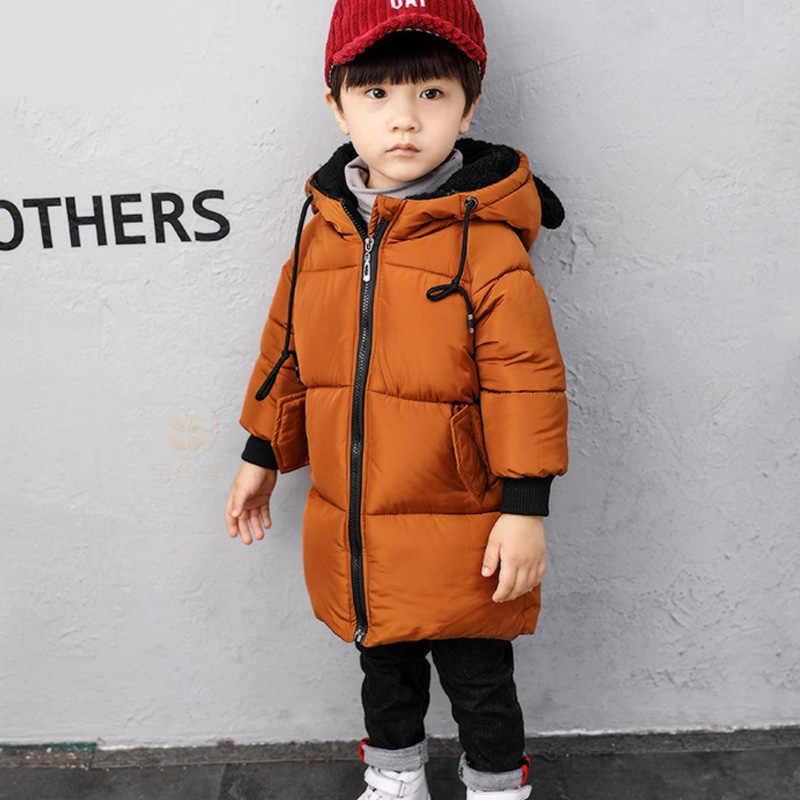 2019 г. Зимние куртки для мальчиков, пальто для мальчиков детская теплая хлопковая верхняя одежда с капюшоном, пальто для мальчиков, одежда детская куртка От 1 до 6 лет