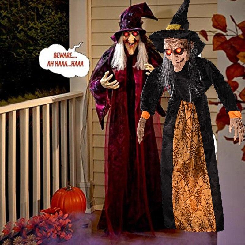 Halloween sorcière décoration Halloween hantée maison accessoires à commande vocale jouet Bar fête terroriste grue fantôme lumineux électrique E