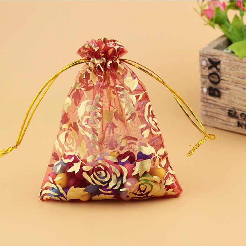 Bolsas de regalo de bolsa de joyería personalizada al por mayor 1000 pzas/unids/lote pequeña bolsa de Organza con estampado de rosas de oro 9*12 cm cordón tull bolsa de regalo-in Envase y exposición de joyería from Joyería y accesorios    2