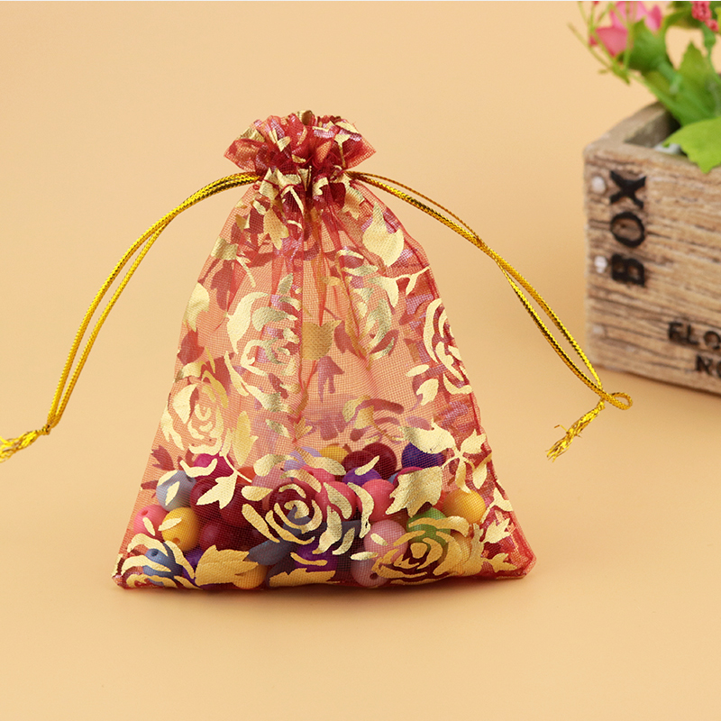 Custom Jewelry Pouch Gift Bags Wholesale 1000pcs/lot Small Organza Bag With Gold Rose Printing 9*12cm Drawstring Tull Gift Pouch-in Jewelry Packaging & Display from Jewelry & Accessories    2