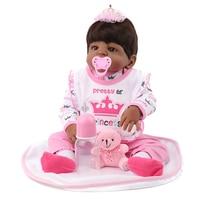 NPK Reborn doll Newborn baby girls princess realistic lifelike black doll american african babies 22 inch kids gift toys