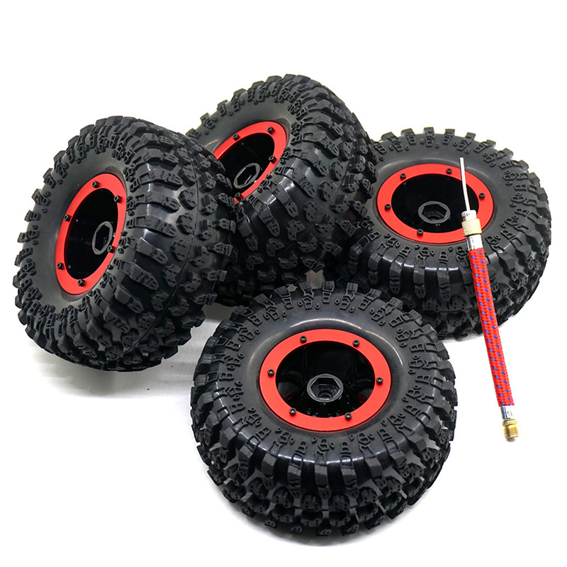 4PCS Air System 2.2 Inch Inflatable Tires Tyre Beadlock Rock Crawler Wheels + Rims Red 4pcs 1 9 rubber tires