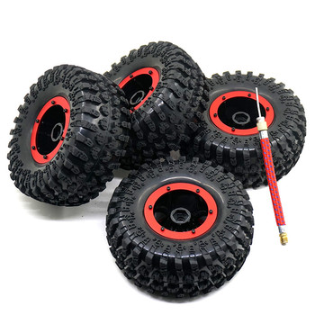 4PCS Air System 2.2 Inch Inflatable Tires Tyre Beadlock Rock Crawler Wheels + Rims Red