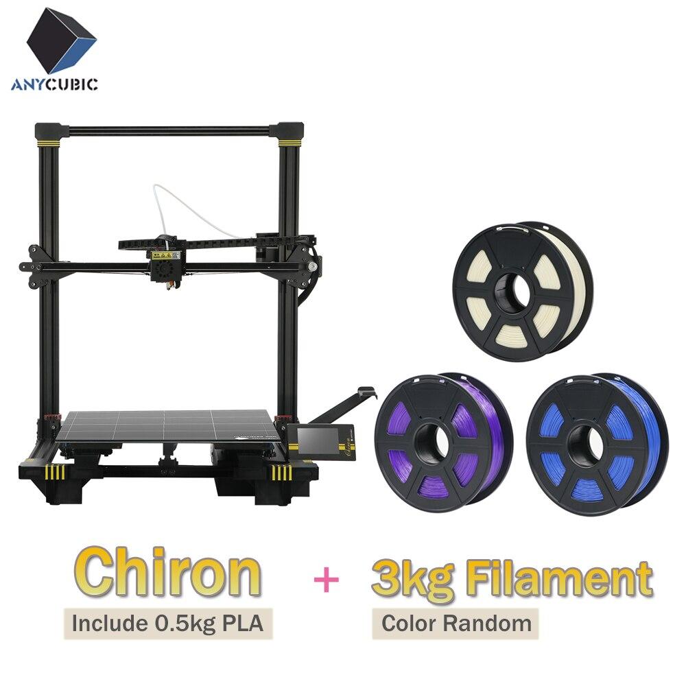 Impressora ANYCUBIC 3D Chiron Tft Ultrabase Extrusora Dupla Z Axisolor Atualizado Maior Bico 3D Impressora Plus Size