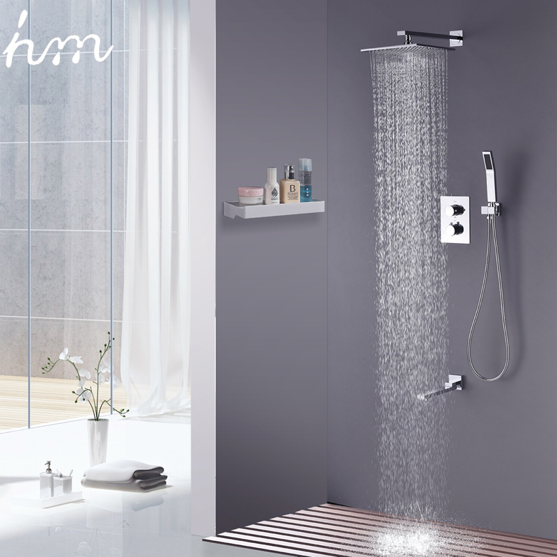 10\'\' Wall Mounted Shower Faucet Bathroom Rainfall Shower System Set ...