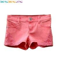 מכנסי תחרה בנות מכנסיים קצרים ג 'ינס אדום 100% כותנה באיכות גבוהה תחרה קצרה האופנה קיץ ג' ינס מכנסיים ג 'ינס תינוק מכנסיים בנות