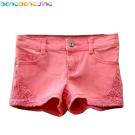 High Quality Lace Girls Shorts Red Denim Shorts 100% Cotton Jeans Summer Fashion Lace Short Pants Denim Baby Girls Pants retro design summer men jeans shorts summer style black color destroyed ripped jeans men shorts white wash stretch denim shorts