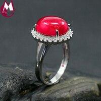 Phụ nữ Bốn Móng Vuốt Nhẫn Ngọc Màu Đỏ Với Pha Lê 100% Sterling Silver 925 Đồ Trang Sức Cổ Điển Top Chất Lượng Wedding Engagement Ring SR62