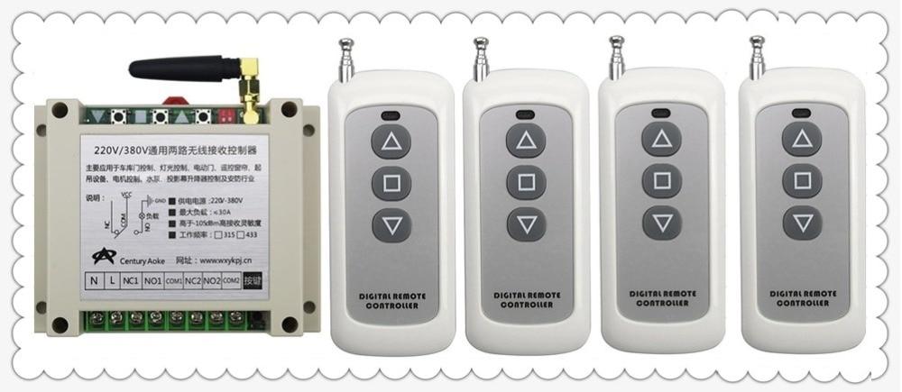 AC220V 250V 380V 30A 2CH 20 200m Long Range Remote Control Switch 4 F3key Transmitter Receiver