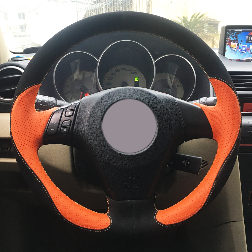 Black  Hand Sewing Auto Steering Wheel Cover for Honda  Civic 8 06-09 3-Spoke