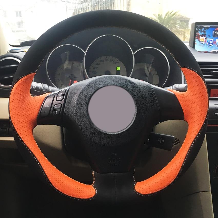 2003 2008 Mazda 6 Wheels For Sale: Black Suede Orange Leather Car Steering Wheel Cover For Mazda 3 Axela 2003 2009 Mazda 5 2004