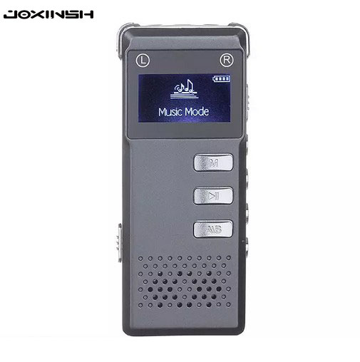 Portable 8GB Digital Audio Voice Recorder Dictaphone Stereo Recording with MP3 Player Support TF card Gray