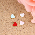 Wholesale100PCS Solid Color Love Heart Pendant Charms Alloy Gold Tone Oil Drop DIY Jewelry Bracelet Charms Enamel Floating Charm