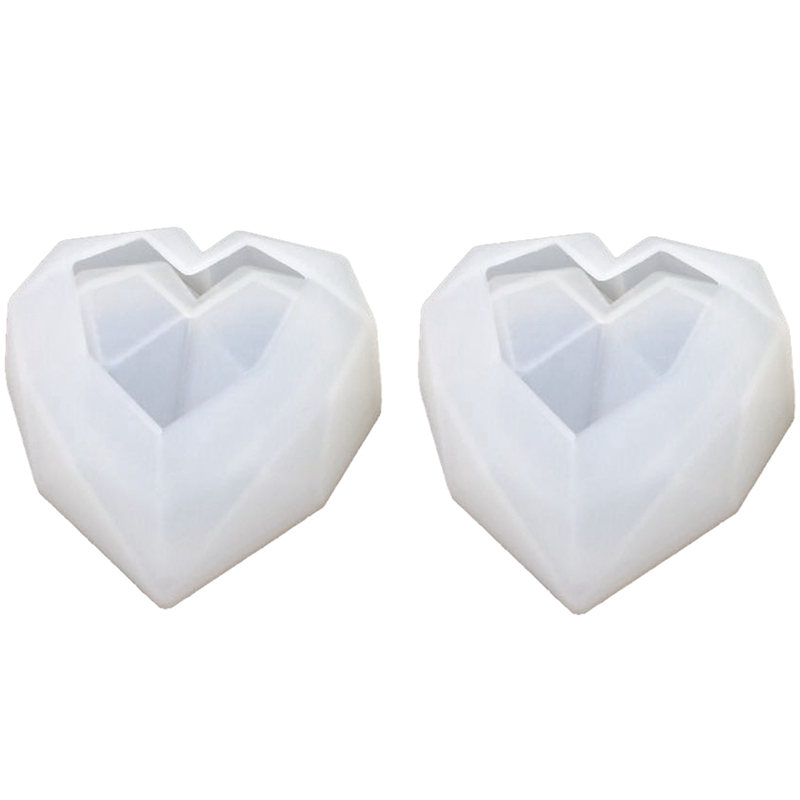 2Pcs/Set 3D Crystal Geometry Love Storage Box Mold Epoxy Mold Decorative Jewelry Resin Molds For Jewelry Making Tool(China)