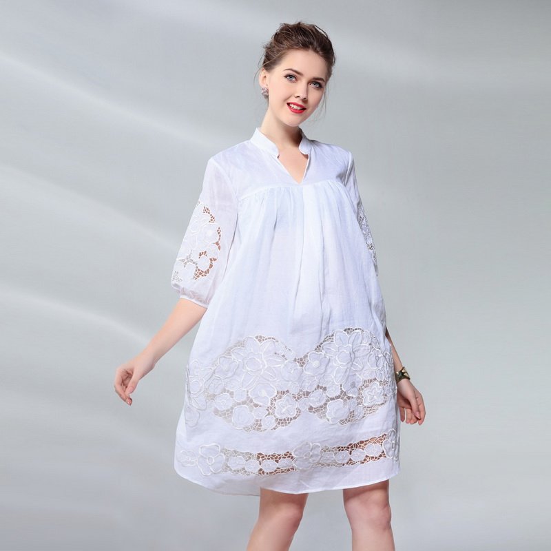 Hollow Out Lace Embroidery Dress New Arrival 2018 Summer Vintage Robe Women Casual Loose Silk Linen Dress zanzea plus size woman summer embroidery ruffled round neck dress loose robe dress