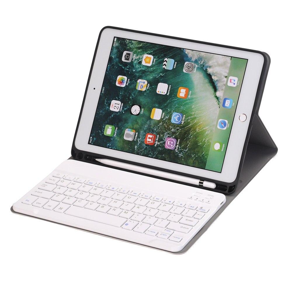 Pour iPad 9.7 2018 Amovible Sans Fil Bluetooth Russe/Hébreu Clavier + Slim Stand PU Housse En Cuir Construire-en Porte-Crayon