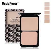 Music Flower Face Foundation Base Makeup Matte Shimmer Fix Pressed Powder Palette Concealer Puff Contour Nude Compact Cosmetics
