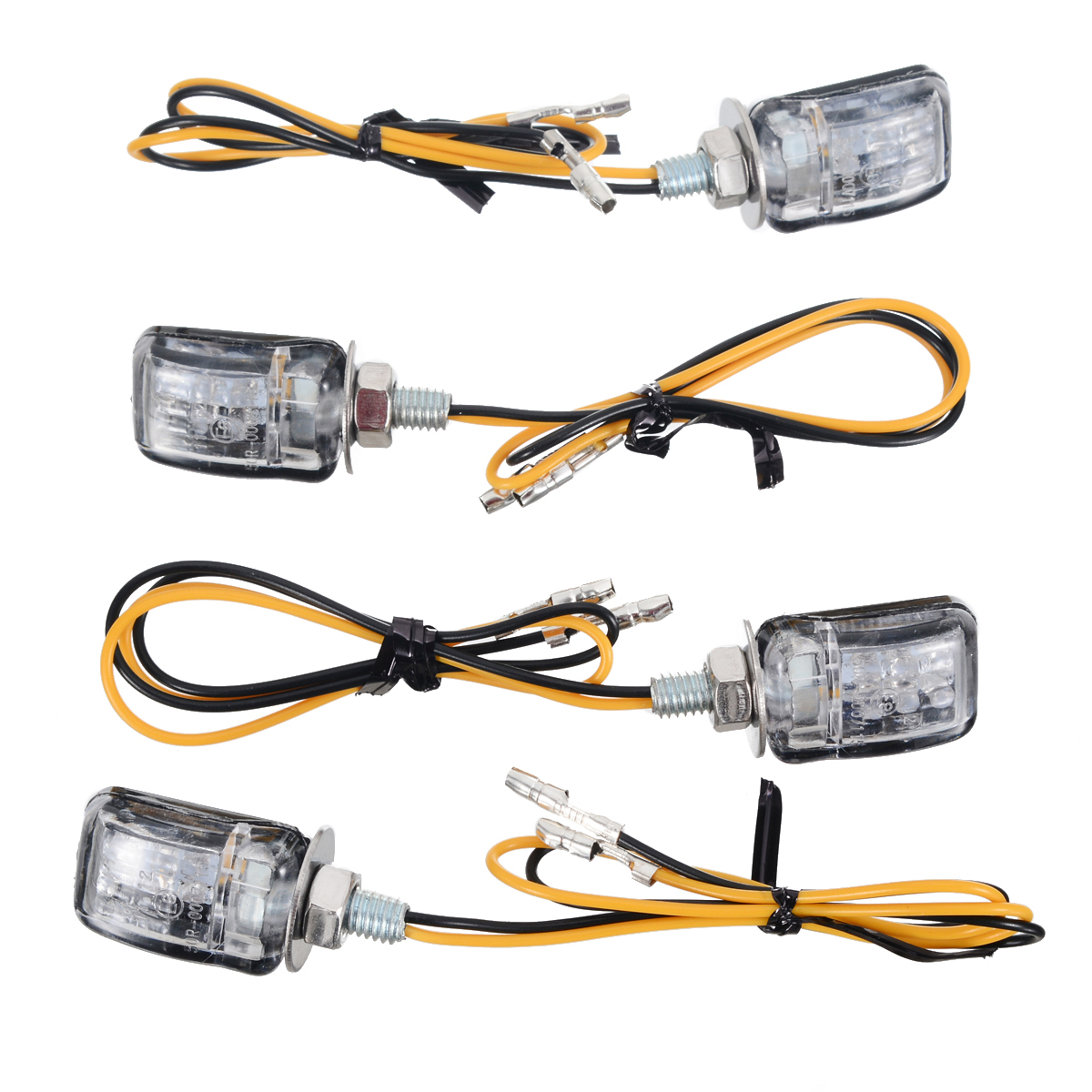 4pcs Amber LED Motorcycle Dirt Bike Mini Turn Signal Indicator Light Blinker 27 x 17 5 x 19mm Lamp Black shell For Honda