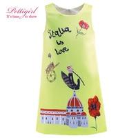 Pettigirl Dress Girls Summer Girl Flower Green Dresses Character Patterns Clothes Kids Clothing Retail GD81017-237F