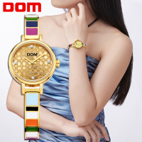 DOM luxury brand Colorful Gold Women Watch Lady Dress wristwatch fashion stainless steel Watch Women waterproof Relogio Feminino