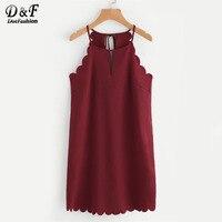 Dotfashion Double Keyhole Scallop Edge Tunic Dress Sleeveless Short Woman Dress 2017 Cut Out Halter Plain