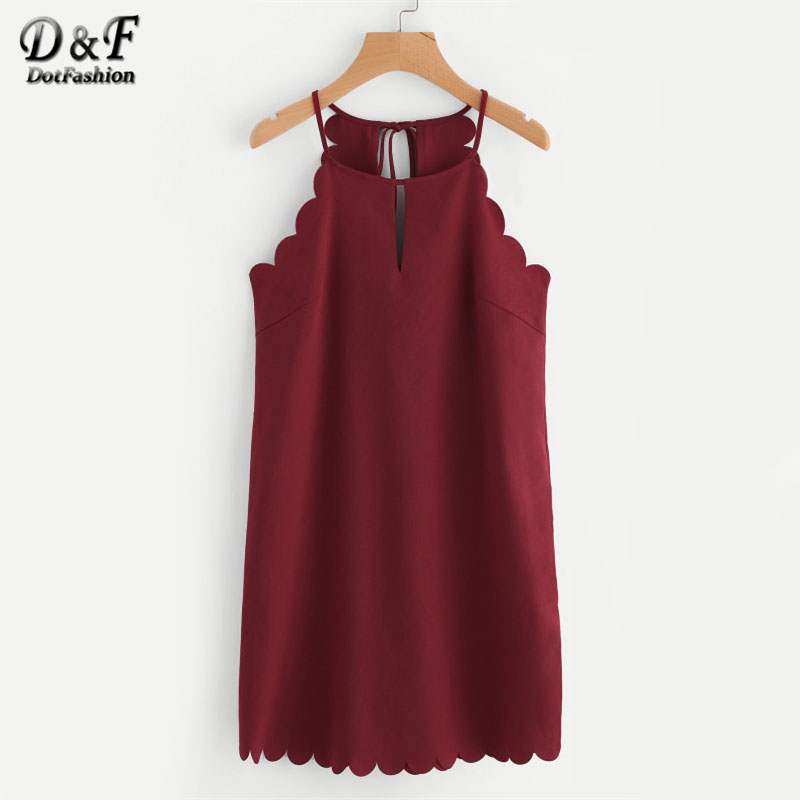 Dotfashion Double Keyhole Scallop Edge Tunic Dress Sleeveless Short Woman Dress 2017 Cut Out Halter Plain Shift Dress