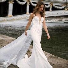 עמוק V צוואר מחוך זוגי שכבות בת ים שמלות כלה עם נתיק רכבת אשליה קעקוע סגנון חזרה כלה שמלה