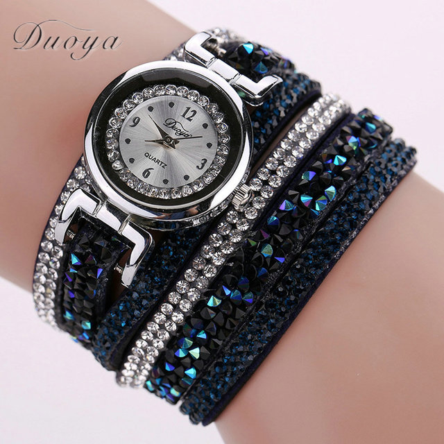 Brand Fashion Round Dial Quartz Watch Women Wristwatch Luxury Rhinestone Bracele