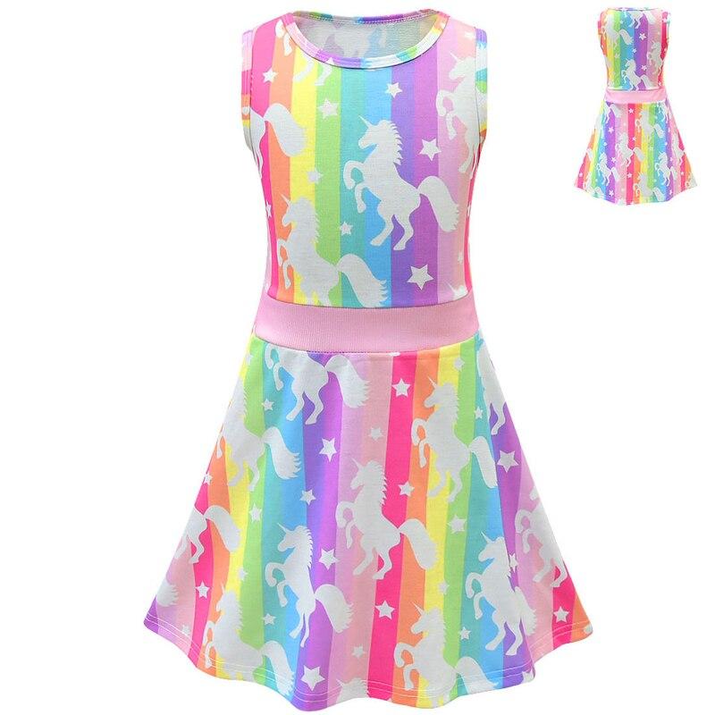 Girls Princess Dress Summer Rainbow Pattern Kids Dress Casual Party Dress