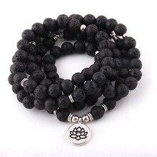 Bracelets et collier en pierre de lave, perles de lave, Lotus OM, bouddha, breloque de Yoga, à la mode, 108