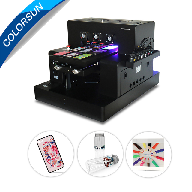 Colorsun New Automatic A3 UV Led Printer (280*500mm)For phone case Cylinder wood glass printing with CE with RIP 9.0 software
