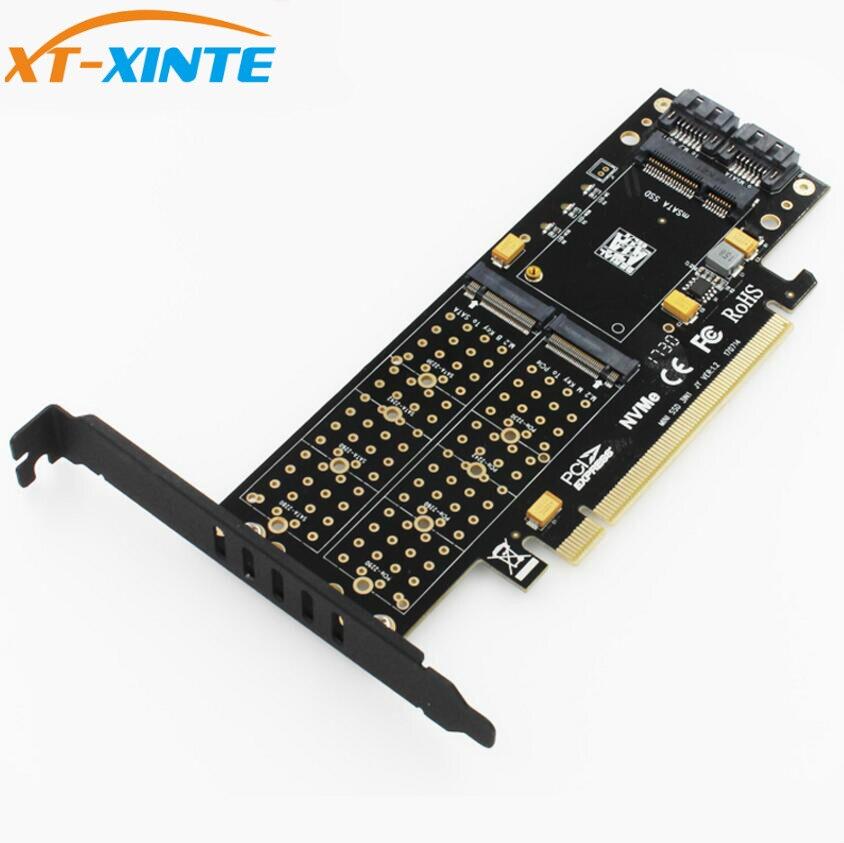 M.2 NVMe SSD NGFF a PCIE 3,0X16 adaptador M B clave mSATA PCI Express 3,0 NVME m2 SSD AHCI mSATA 3 en 1 convertidor elevador de la tarjeta