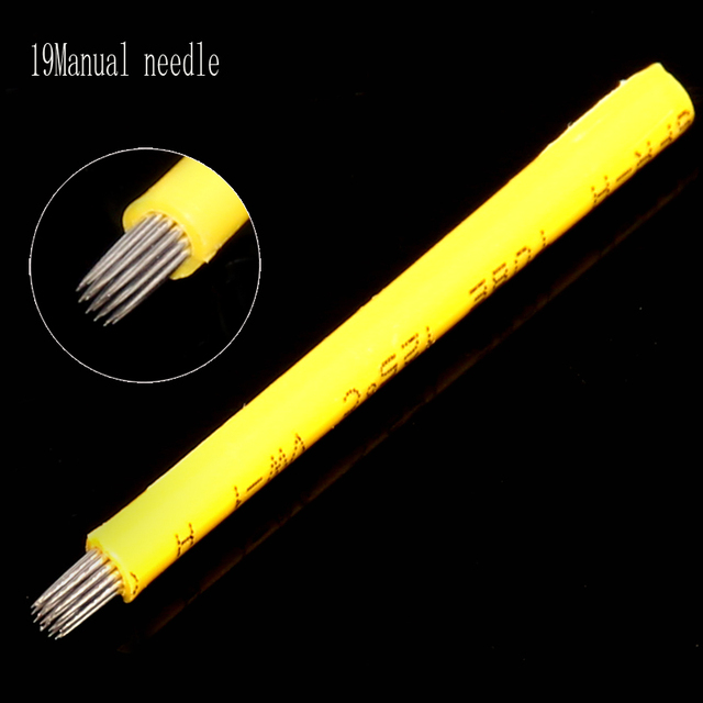 Professional 50pcs 19pin Fog Needles Microblading Manual Tattoo Needle Round Blade For Eyebrow Tattooing