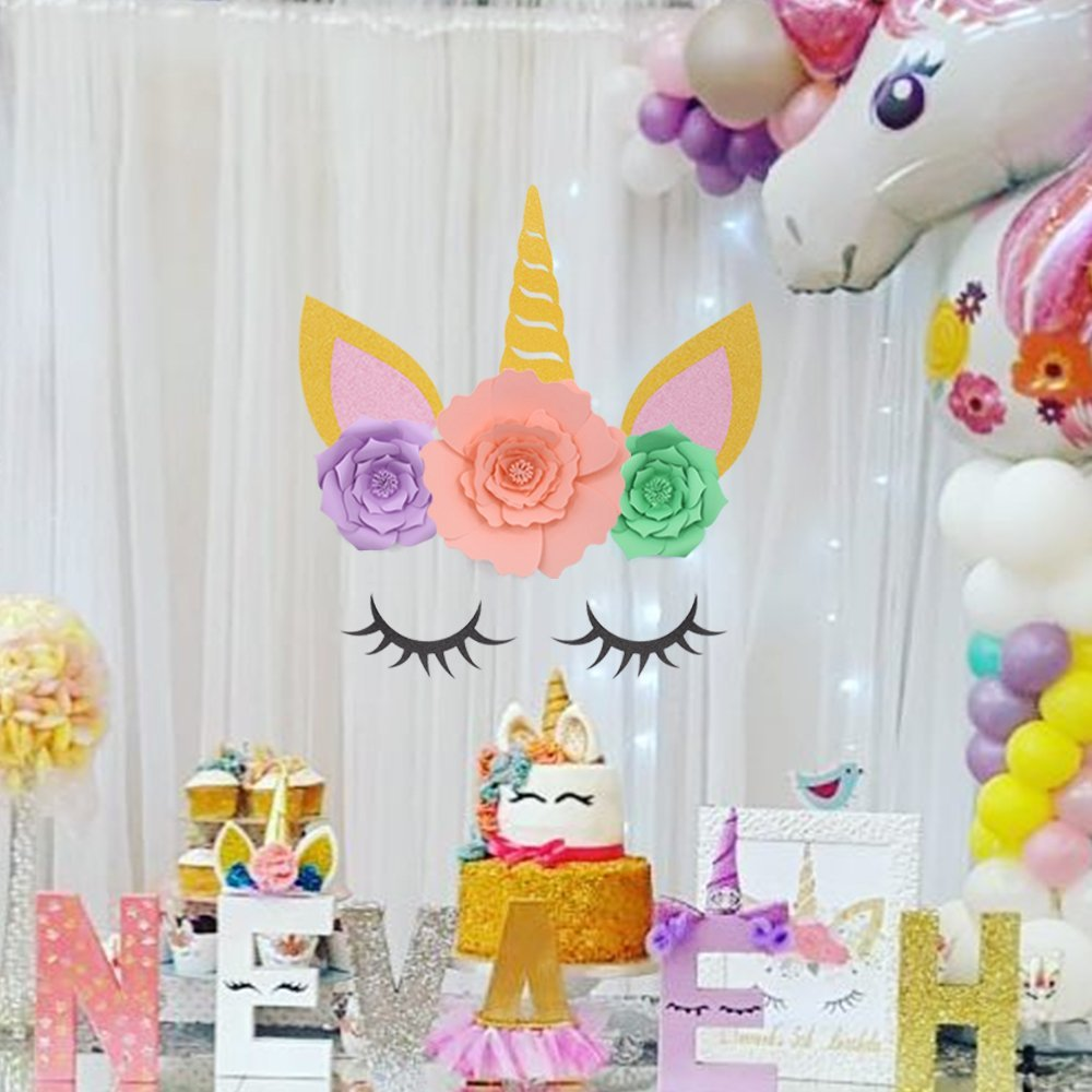 WEIGAO Unicorn Decoration Birthday Horn Sets With 3Pcs Tissue Paper Flowers Pompoms DIY 1st Girl Party Supplies In Decorations
