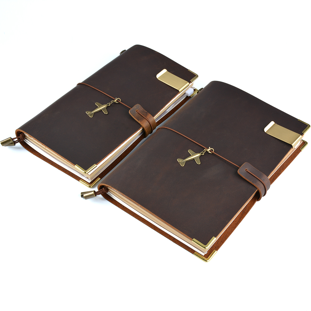 100% Genuine Leather <font><b>Notebook</b></font> Handmade Vintage Cowhide Diary <font><b>Travel</b></font> <font><b>Journal</b></font> Sketchbook Planner Gift Buy 1 Get 11 Accessories image