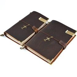 100% caderno de couro genuíno feito à mão do vintage do couro diário viagem diário sketchbook planejador presente comprar 1 obter 11 acessórios