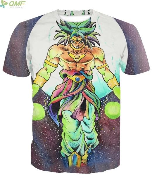39ced963d86c Super Saiyan Broly Print Tide Men T-shirts Fashion Casual Tops Dragon Ball Z  Cartoon